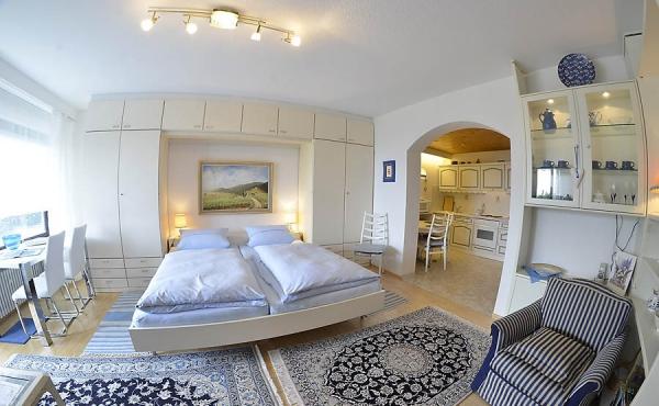 Heller Wohn-/Schlafbereich mit angrenzender Küche - Apartment 1, Haus Panoramablick, Weindorf Haardt, Neustadt / Weinstr. (Pfalz)