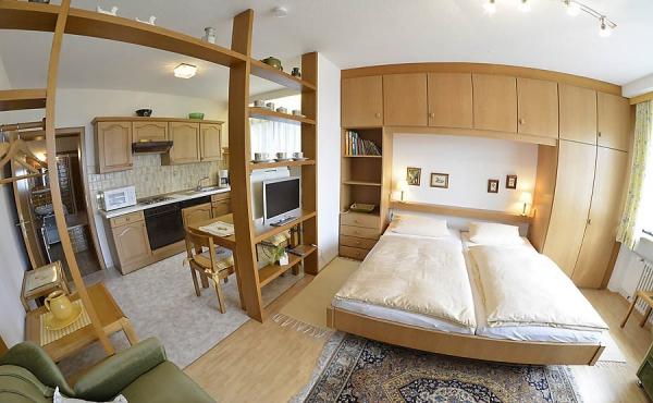 Heller Wohn-/Schlafbereich mit angrenzender Küche - Apartment 2, Haus Panoramablick, Weindorf Haardt, Neustadt / Weinstr. (Pfalz)
