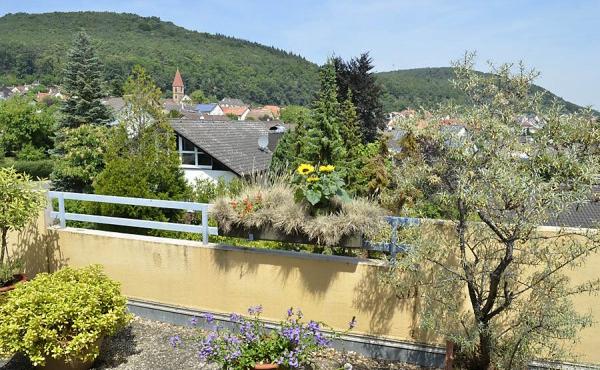 Nordterrasse mit Blick auf das Weindorf Königsbach, die Kirche und den Pfälzerwald.